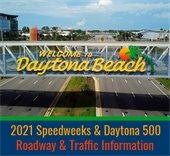 Welcome to Daytona Beach sign and roadway