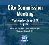 City Commission meeting and photo of golf course