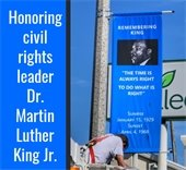 Street banner with a photo of Dr. Martin Luther King Jr.