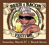 Beer & Bacon event image of a pig drinking