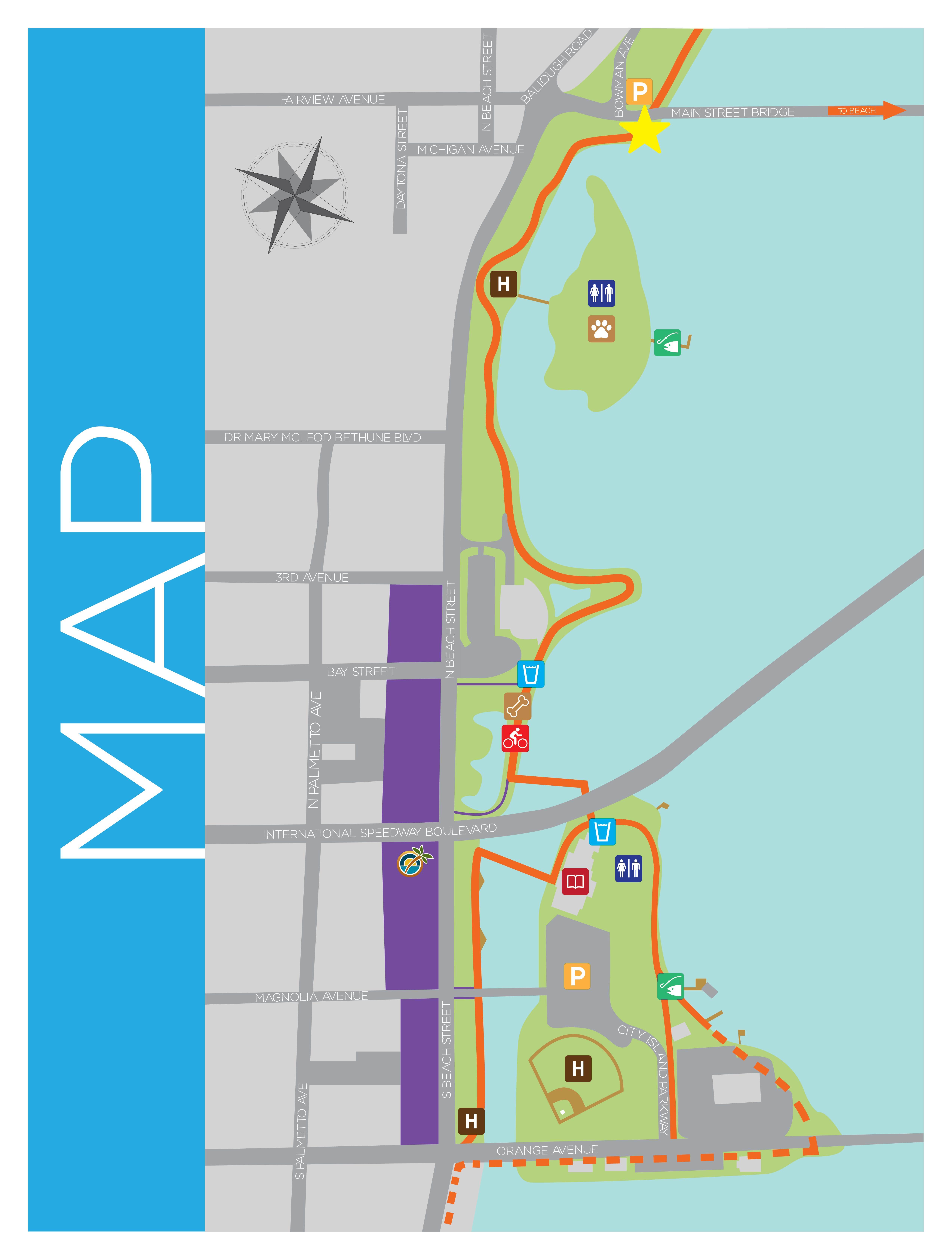 Daytona Beach FL Official Website Sweetheart Trail - Florida map daytona area