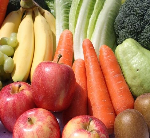Fruit and vegetables image with apples, bananas, grapes and carrots